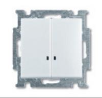 1012-0-2157 (2006/5 UCGL-92) BJB Basic 55 Беж Выключатель 2-клавишный с подсветкой