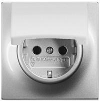 2018-0-1489 (20 EUK-783) BJE Impuls Серебро металлик Розетка с/з с крышкой
