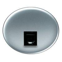5517.1 PL (5517_1 PL) NIE Tacto Серебро Накладка розетки ТЛФ/комп (RJ45) 1-ая