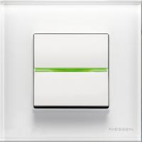 N2202.5 BL NIE Zenit Бел Переключатель 1-клавишный с индикацией 2 мод