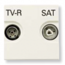 N2251.3 BL NIE Zenit Бел Розетка TV-FM-SAT единственная, 2 мод
