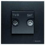 N2251.7 AN NIE Zenit Антрацит Розетка TV-FM-SAT оконечная, 2 мод
