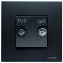 N2251.8 AN NIE Zenit Антрацит Розетка TV-FM-SAT проходная, 2 мод