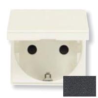 N2288.1 AN NIE Zenit Антрацит Розетка с/з с защитными шторками с крышкой 2 мод