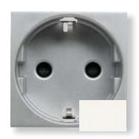 N2288.6 BL NIE Zenit Бел Розетка с/з с защитными шторками, безвинт. зажим, 2 мод