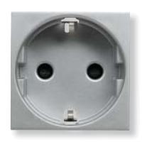 N2288.6 PL NIE Zenit Серебро Розетка с/з с защитными шторками, безвинт. зажим, 2 мод