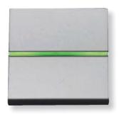 N2204.5 PL NIE Zenit Серебро Выключатель 1-клавишный кнопочный с индикацией НО-контакт 2 мод