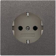 AL2520KIAN LS 990 АнтрацитРозетка с/з с защитными шторками безвинт зажим