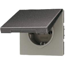AL2520KLAN LS 990 АнтрацитРозетка с/з с крышкой безвинт зажим