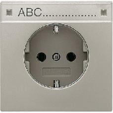 AL2520NA LS 990 АлюминийРозетка с/з с полем для надписи безвинт зажим