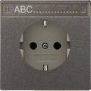 AL2520NAAN LS 990 АнтрацитРозетка с/з с полем для надписи безвинт зажим
