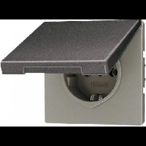 AL2521KLAN LS 990 АнтрацитРозетка с/з с крышкой винт зажим