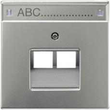 AL2969-2NAUA LS 990 Алюминий Накладка 2-ой наклонной ТЛФ/комп розетки с полем для надписи