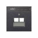 AL2969-2NAUAAN LS 990 Антрацит Накладка 2-ой наклонной ТЛФ/комп розетки с полем для надписи