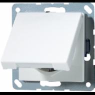 AS520KLKIWW АS 500Бел Розетка с/з с защитными шторками с крышкой безвинт зажим