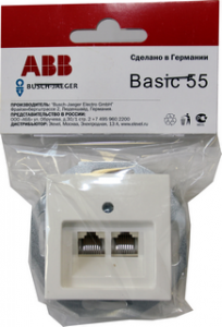 B 1803-02-94-RJ11 BJB Basic 55 DIY Бел Розетка Телефонная 2-ая