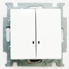 1012-0-2154 (2006/5 UCGL-94) BJB Basic 55 Бел Выключатель 2-клавишный с подсветкой