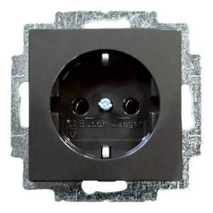B 20 EUCKS-95-507 BJB Basic 55 DIY Шато (чёрн) Розетка с/з с защитными шторками