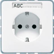 CD520NABFLG CD ударопр. Светло-серыйРозетка с/з с полем для надписи винт. зажим