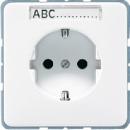 CD520NABFWW CD ударопр. БелРозетка с/з с полем для надписи безвинт. зажим