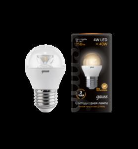 Лампа Gauss LED Globe Crystal Clear E27 4W 2700K 1/10/50