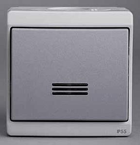 ENN35727 Одноклавишный выключатель о/у ,с подсветкой, серый, в сборе IP55