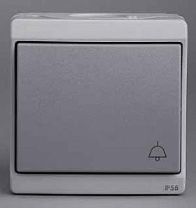 """ENN35760 Кнопочный вык-ль с символом """"звонок"""", 0/у, серый, в сборе IP55"""
