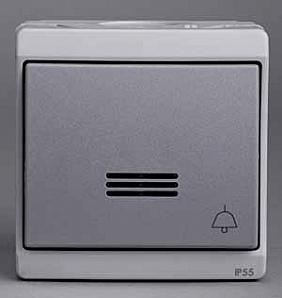 """ENN35762 Кнопочный вык-ль с подсветкой с символом """"звонок"""", 0/у, серый, в сборе IP55"""