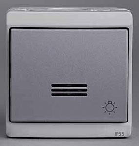 """ENN35764 Кнопочный вык-ль с подсветкой с символом """"свет"""", 0/у, серый, в сборе, IP55"""
