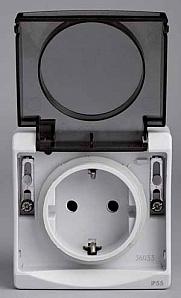 ENN36031 Розетка с з/к с крышкой, о/у, в сборе, серый IP55
