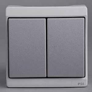 ENN37022 Двухклавишный выключатель комб в блок о/у ,серый, в сборе IP55