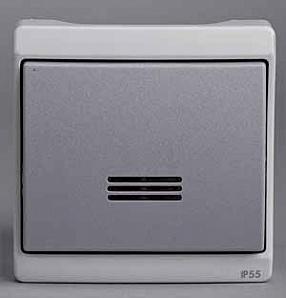 ENN37028 Кнопочный выключатель с подсветкой комб в блок, о/у, серый, в сборе IP55