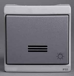 """ENN37033 Кнопочный вык-ль с подсвет с симв """"свет"""" комб в блок о/у, серый в сборе IP55"""