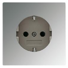 GCR2520KI LS 990 Блестящий хромРозетка с/з с защитными шторками безвинт зажим