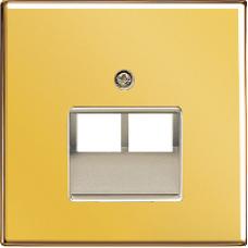 GO2969-2UA LS 990 Блеск золота Накладка 2-ой наклонной ТЛФ/комп розетки