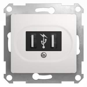 GSL000132 GLOSSA USB РОЗЕТКА, 5В /1400 мА, 2 х 5В /700 мА, механизм, БЕЛЫЙ