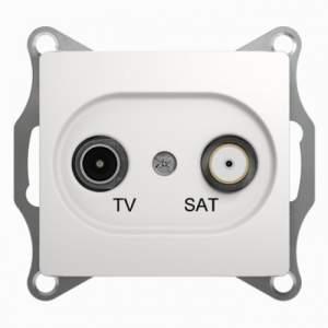 GSL000198 GLOSSA TV-SAT РОЗЕТКА проходная 4DB, механизм, БЕЛЫЙ
