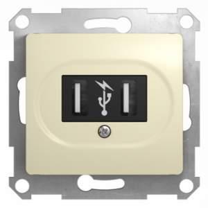GSL000232 GLOSSA USB РОЗЕТКА, 5В /1400 мА, 2 х 5В /700 мА, механизм, БЕЖЕВЫЙ