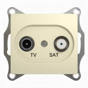 GSL000298 GLOSSA TV-SAT РОЗЕТКА проходная 4DB, механизм, БЕЖЕВЫЙ