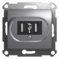 GSL000332 GLOSSA USB РОЗЕТКА, 5В /1400 мА, 2 х 5В /700 мА, механизм, АЛЮМИНИЙ