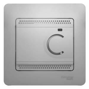 GSL000338 GLOSSA ТЕРМОСТАТ электр.теплого пола с датчиком,от+5до+50°C,10A,в сборе,АЛЮМИНИЙ