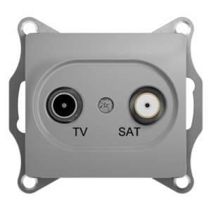 GSL000398 GLOSSA TV-SAT РОЗЕТКА проходная 4DB, механизм, АЛЮМИНИЙ