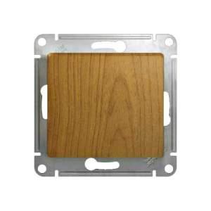 GSL000515 GLOSSA Нажимная Кнопка, сх.1, 10АХ, механизм, ДЕРЕВО ДУБ
