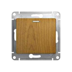 GSL000517 GLOSSA Нажимная Кнопка с подсветкой, сх.1а, 10АХ, механизм, ДЕРЕВО ДУБ