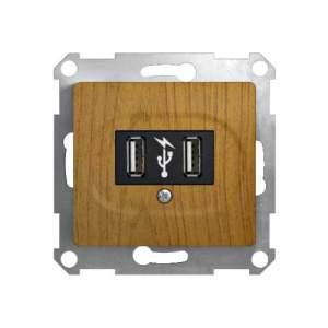GSL000532 GLOSSA USB РОЗЕТКА, 5В /1400 мА, 2 х 5В /700 мА, механизм, ДЕРЕВО ДУБ