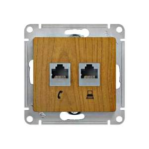 GSL000585 GLOSSA РОЗЕТКА двойная RJ11+RJ45, кат.5E, механизм, ДЕРЕВО ДУБ
