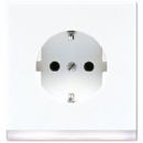 LS520-OWWLEDW LS 990Бел (лакир. алюм.) Розетка с заземлением, подсветка белая