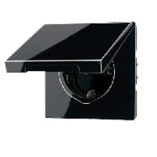 LS520KLSW LS 990 Черный Розетка с/з с крышкой безвинт зажим