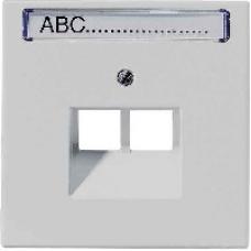LS969-2NAUALG LS 990 Светло-серый Накладка 2-ой наклонной ТЛФ/комп розетки с полем для надписи