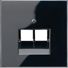 LS969-2UASW LS 990 Черный Накладка 2-ой наклонной ТЛФ/комп розетки